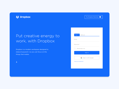 Dropbox Landing Page Redesign new site corporate landing page web design landing page dropbox redesign blue website