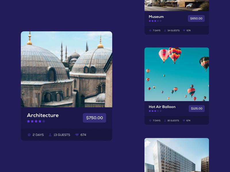 Booking Website Concept city guide tour purple cards web design website design web app web application website booking concept
