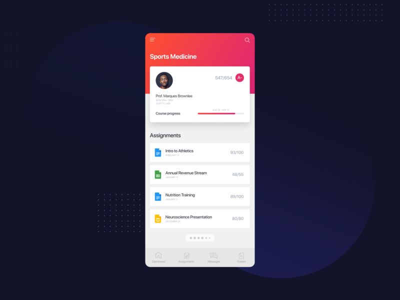 Student Dashboard minimal clean concept design interface ios iphone mockup ux ui visual design interaction design interface design uiux design ui design user interface