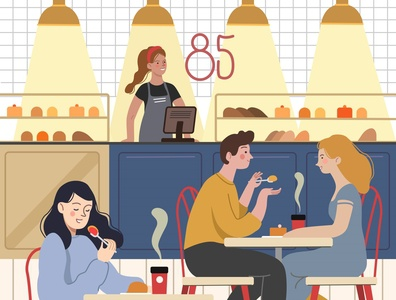 In the cafe vector design illustration character