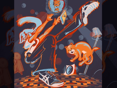Tha Stuck at Home Life: Solo Dance Party stayathome covid-19 covid dance disco ball onitsuka tigers asics the shining just dance app dance party cat bluetooth aladdin sane bowie girl illustration art illustrations illustrator illustration