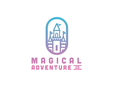 Magical Adventure Co. Logo animations animation 2d animation california sacramento hipster typography castle logo thick lines gradient castle vacation theme parks travel disneyland disney tourism