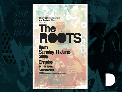 The Roots Poster Sacramento 2006 the roots questlove layered layers vellum offset graphic dribbble color music design typography sacramento gigposters posters gigposter poster