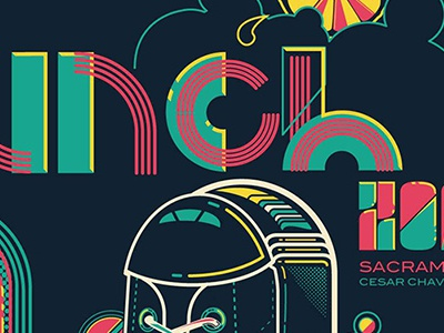 4 Color Screenprinted Poster for Launch Music Festival