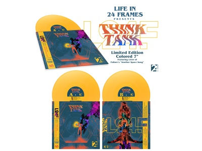 """ThinkTank 7"""" Picture Sleeve psychedelic color indie rock indie sacramento branding logo typography illustration"""
