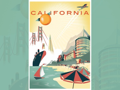 California Travel Poster vintage travel vintage logo retro california san francisco los angeles typography dribbble color design illustration posters poster