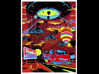 Foo Fighters Poster Albuquerque 2020 Process Video albuquerque abq music poster gigposters day glo blacklight velvet gigposter foo fighters