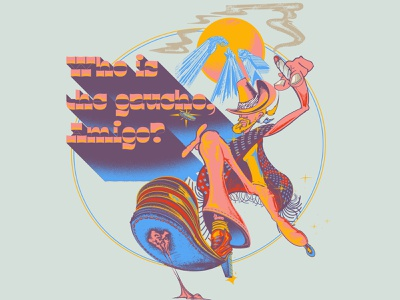Who is the Gaucho, Amigo cannabis weed psychedelic 70s steely dan yacht rock typography design illustration