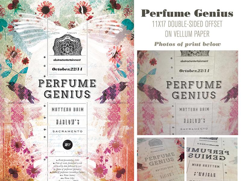 Perfume Genius gig poster. Double-sided print on vellum paper. gigposter gigposters poster posters sacramento