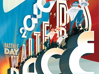 2016 Sacramento Bastille Day Waiters' Race Poster poster sacramento france typography illustration