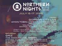 Poster for the 2016 Northern Nights Music Festival