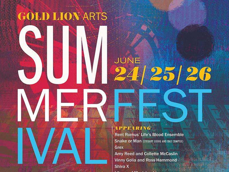 Gold Lion Arts Summer Festival Poster typography poster gigposter gold lion sacramento jazz