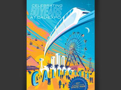 California State Fair Poster 2017 sacramento disneyland illustration california state fair state fair california