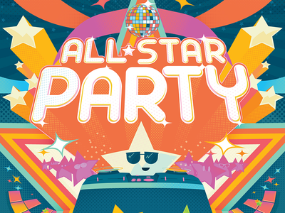 All-Star Party illustration nightclub dj posters poster disco vr virtual reality