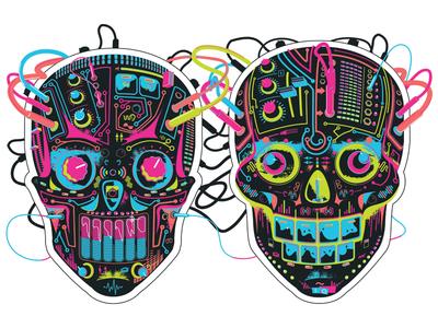 Booka Shade illustration synth skulls booka shade illustration