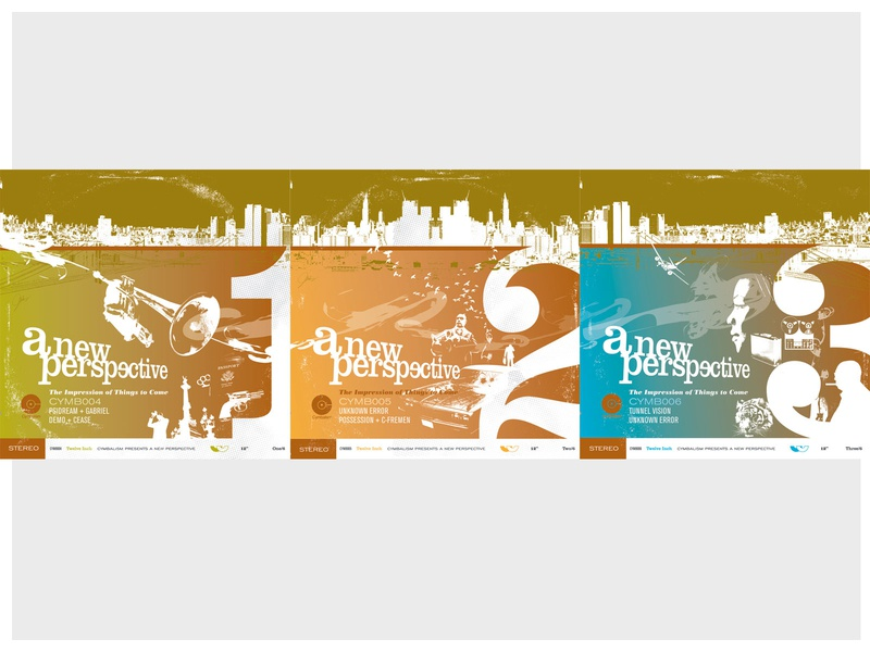 "A New Perspective - Set of Three 10"" Records drum and bass blacksploitation blaxploitation jazz halftones dribbble triptych dribble color collage illustration branding vector music logo ui design typography"