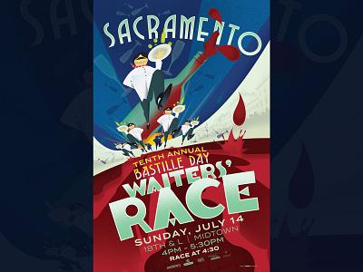 Sacramento Bastille Day Waiters' Race Poster 2019 digital art california vector graphic dribbble color music design illustration typography sacramento gigposters poster posters gigposter
