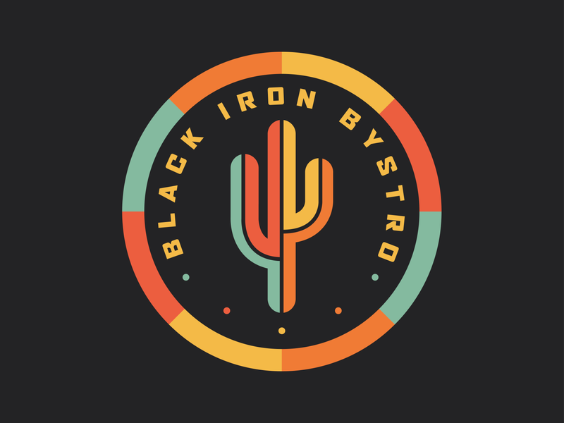 Black Iron Bystro Sticker food and drink aztec cactus sticker restaurant food badge buffalo retro thick lines logo