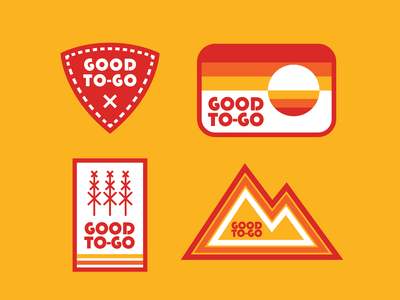 Good To-Go Badge sunset mountain logo nature outdoor badge retro thick lines badge camping food camping food good to-go