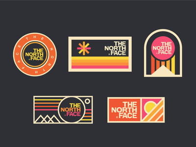 The North Face Badges the north face sticker rainbow vintage mountains outdoors badge retro thick lines logo