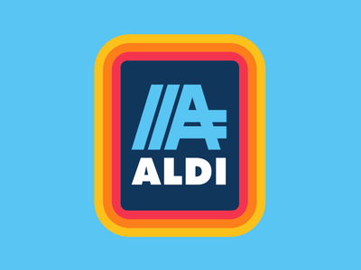Aldi Redesign simple logo rebranding grocery store redesign rebrand badge retro thick lines logo