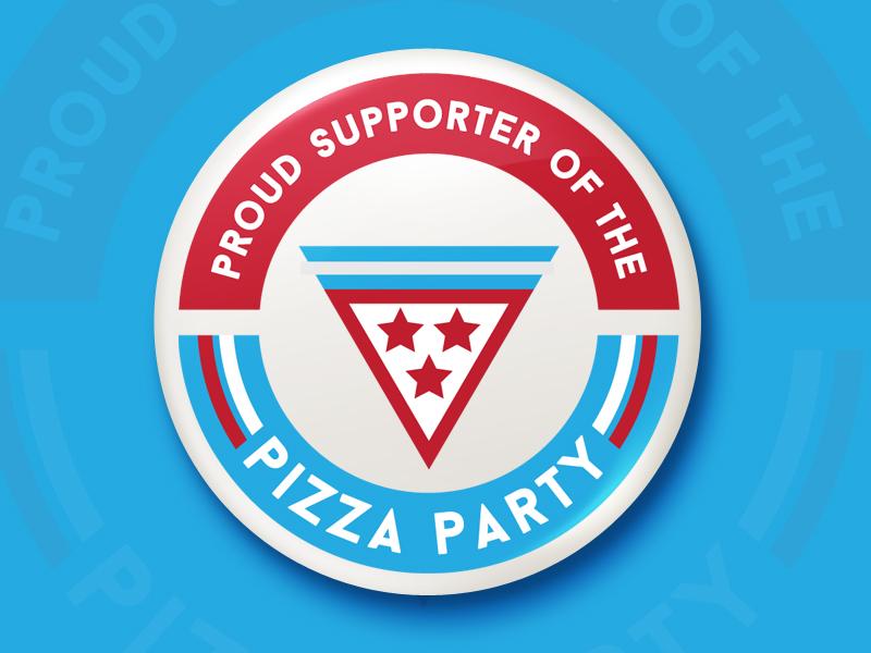 Pizza Party sticker mule political button button pizza