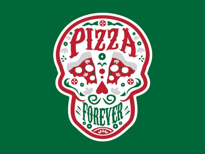 Pizza Forever - Italy sauce food pizza forever slices pepperoni skull italy sticker pizza