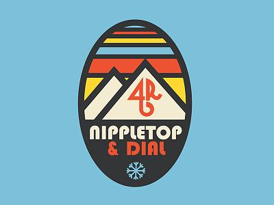 Nippletop & Dial Badge snowshoeing retro logo design badge design mountains 46er hiking upstate ny adirondacks