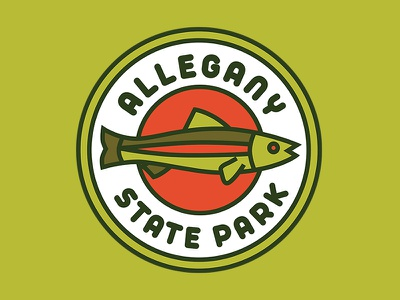 Allegany State Park Sticker buffalo fishing trout badge design fish outdoors badge outdoors sticker outdoors patch allegany state park