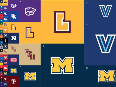 March Madness Minimal - Left Side sports logo logos ncaa infographic bracket simple minimal flat sports hoops basketball college athletics