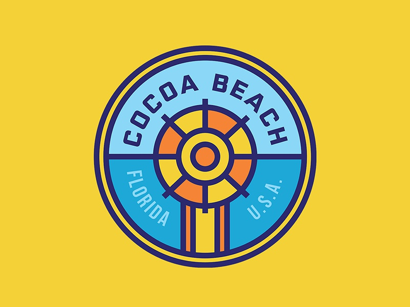 Cocoa Beach Badge bright surfing sand round badge thick lines beach logo badge florida cocoa beach