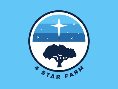 4 Star Farm family patch design vintage design badge design tree outdoors logo farm stars thick lines retro logo farm logo