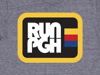 RUN PGH Marathon Apparel badge patch marathon pittsburgh thick lines merch tshirt retro apparel retro runner run