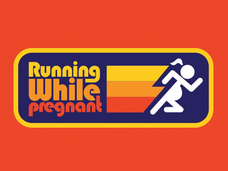 Running While Pregnant retro apparel patch retro sticker sticker vintage retro pregnant runner running while pregnant running runner maternity pregnancy pregnant