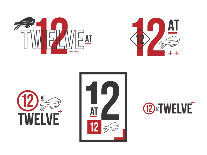 12 at 12 Logos suite lunch typography invitation sports design clean modern red football buffalo bills logo design logo