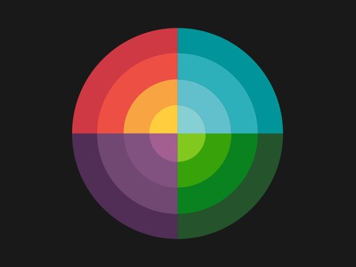 Color Wheel target prism sunset spectrum logo bright colors circle color wheel layers illustration retro thick lines