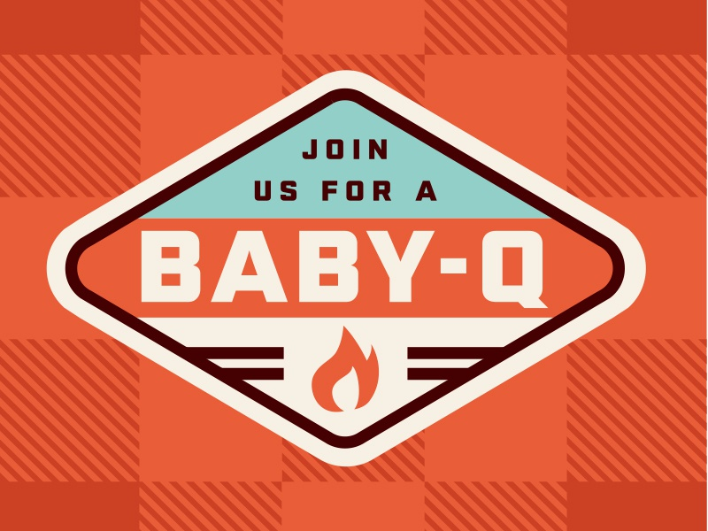 Baby Q - Baby Shower Invite baby branding picnic badge badge design fire maternity pregnant baby shower retro thick lines logo