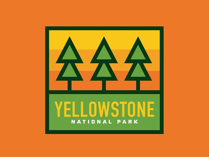 Yellowstone National Park Patch outdoor patch outdoor badge vintage outdoors national parks yellowstone design badge illustration thick lines retro logo