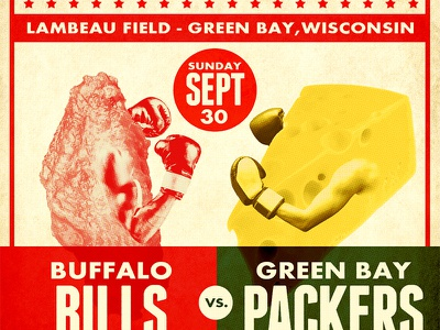 Bills vs. Packer Matchup cheese chicken wing green bay packers design old school nfl sports design boxing vintage poster vintage retro buffalo bills football sports buffalo