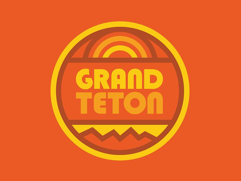 Grand Teton National Park nature outdoors national parks apparel vacation camper van jackson wyoming wyoming hiking design badge retro thick lines logo grand tetons grand teton
