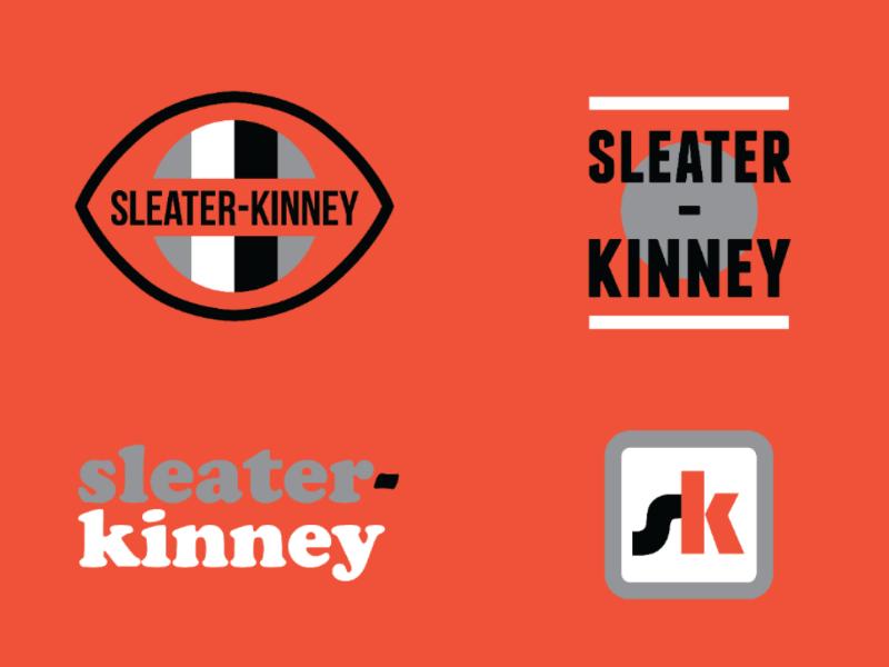 Sleater-Kinney badge design thick lines red minimal flat design apparel design merch band logo