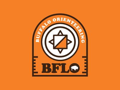 Buffalo Orienteering sports logo sports fitness outdoors logo compass orange badges western ny buffalo ny upstate trail running hiking orienteering retro thick lines buffalo