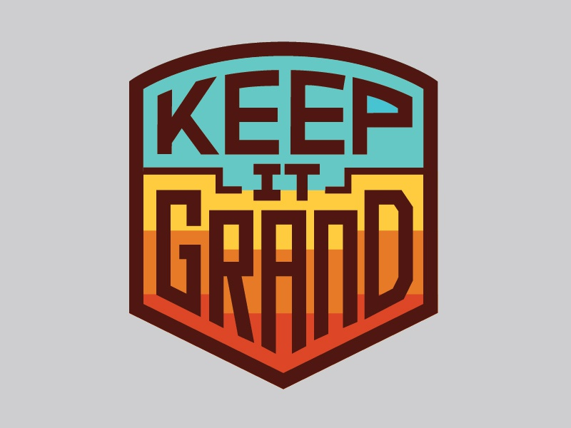 Keep It Grand Sticker logo patch national parks outdoors badge retro thick lines nature badge design keep nature wild grand canyon sticker