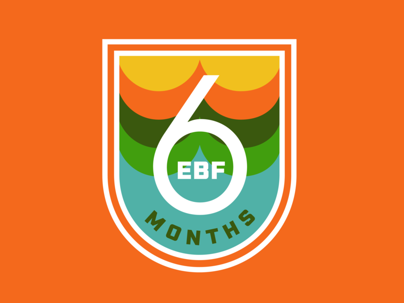 6 Months EBF! ebf logo breastfed 6 months badge motherhood mother vintage thick lines nursing retro patch badge mom breastfeeding baby