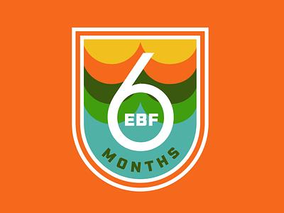 6 Months EBF! ebf logo breastfed 6 months badge motherhood mother vintage thick lines nursing retro patch badge mom breastfeeding baby