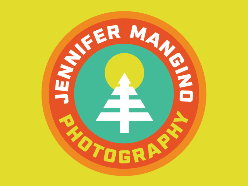 Jennifer Mangino Photography trail running hiking nature adventure tree animals logo retro thick lines patch badge outdoors logo design photography logo photographer