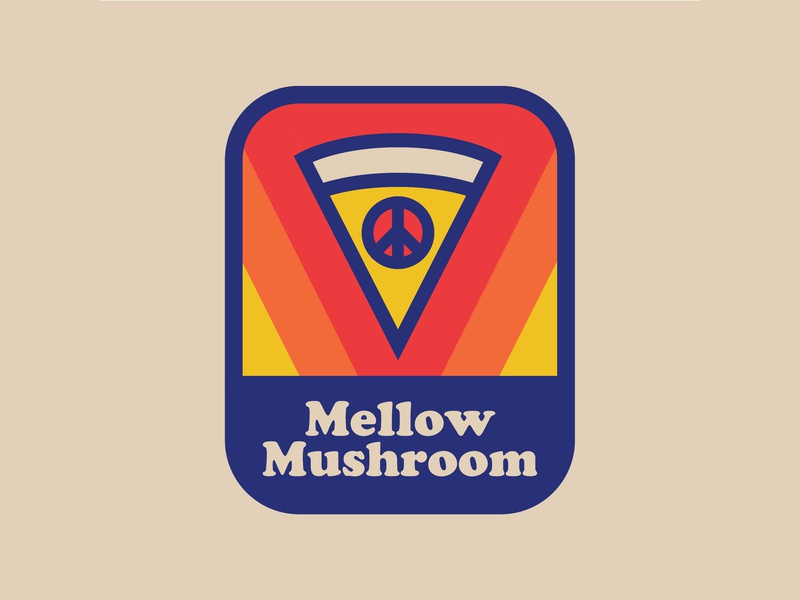 Mellow Mushroom beer food flat design sticker peace sign patch trippy mellow mushroom pizza badge logo retro thick lines