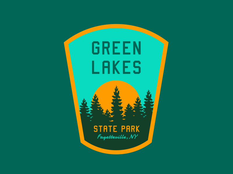 Green Lakes State Park outdoor apparel logo mountains syracuse trees outdoors patch badge retro national parks state park outdoors badge