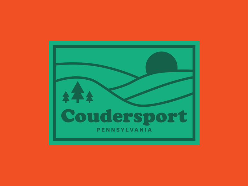 Coudersport PA - Hometown state park forest hiking outdoors rolling hills coudersport pennsylvania potter county badge retro thick lines logo sticker weekly warm-up
