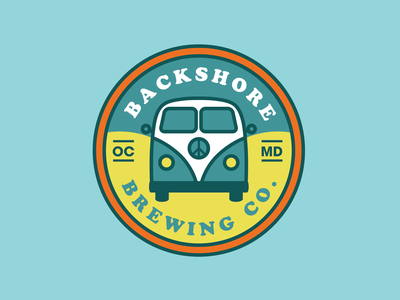 Backshore Brewing Co ocean beer vw retro sticker camper van peace brewery logo brewery sticker sticker badge retro logo maryland ocean city backshore